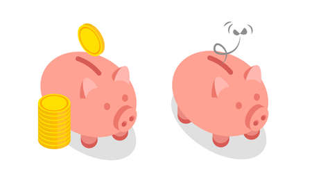 Happy full and sad empty isometric piggy bank. Vector illustration isolated on white background. Illustration