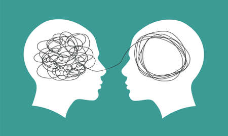 Psychotherapy concept. Abstract metaphor of problem solving or difficult situation. Tangle tangled and unraveled in people head. Simplification streamlining process. Vector illustration isolated. Illustration