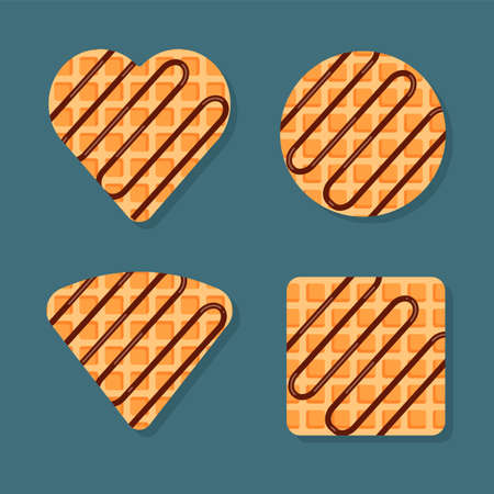 Viennese or belgian waffles in different shapes with chocolate topping. Vector food illustration in trendy flat style isolated. Illustration