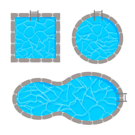 Different shape of swimming pool template. Top view. Vector illustration isolated on white background.