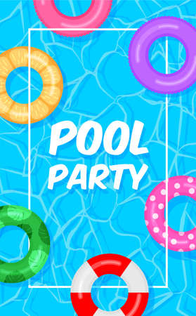 Pool party template banner. Swimming pool summer background with colorful lifebuoys. Float rings. Vector illustration in trendy flat style.