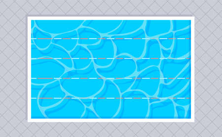 Rectangular swimming pool with with lanes and square tiles. Top view. Vector illustration in trendy flat style. Illustration