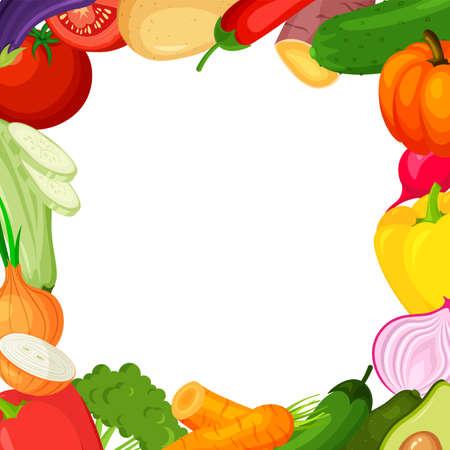 Vegetable frame. Summer banner template. Vector illustration.