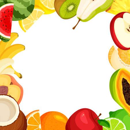 Fruit set frame. Summer banner template isolated. Vector illustration Illustration