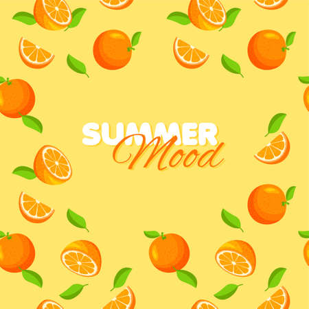 Cartoon orange seamless pattern. Summer banner concept. Yellow background. Vector illustration.