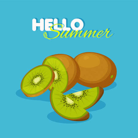 Slice and half of kiwi isolated on blue background. Summer banner concept. Vegan food vector icons in a trendy cartoon style.