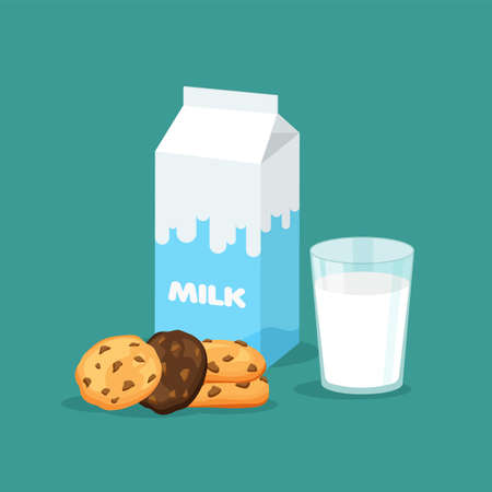 Milk packaging and full glass of milk with traditional chip cookies with chocolate. Carton pack template. Vector illustration isolated.