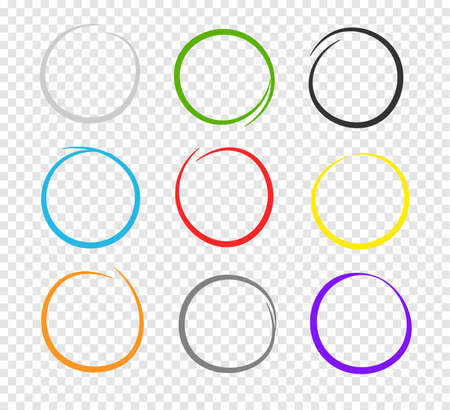 Collection of hand drawn different colors highlight circle. Highlighter marks, strokes. Design elements isolated on transparent background.