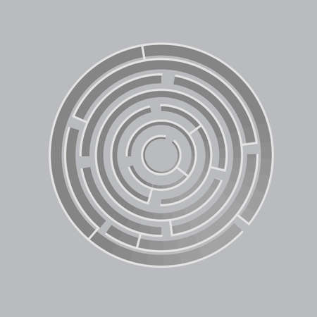 Volumetric 3d circle maze. Labyrinth template. Vector illustration isolated