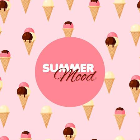 Cartoon ice-cream cone seamless pattern. Chocolate, vanilla and strawberry ice creams. Summer banner. Vector illustration.