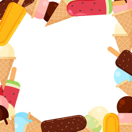 Ice cream frame in trendy cartoon style. Summer banner template isolated. Vector illustration. Illustration