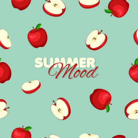 Cartoon red apple seamless pattern. Summer banner concept. Light green color background. Vector illustration.