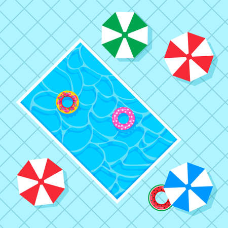 Rectangle swimming pool with colorful lifebuoys, beach umbrellas on square blue tiles. Top view. Vector illustration in trendy flat style. Illustration