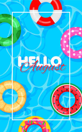 Swimming pool summer background with colorful lifebuoys. Hello august concept. Pool party template banner. Float rings. Vector illustration in trendy flat style.