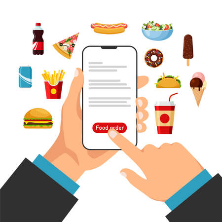 Hand holds smartphone and orders food online. Food ordering and delivery. Cooking app. Front view. Vector illustration in trendy flat style. Illustration
