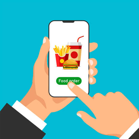 Hand holds smartphone and orders food online. Food ordering and delivery. Front view. Vector illustration in trendy flat style.
