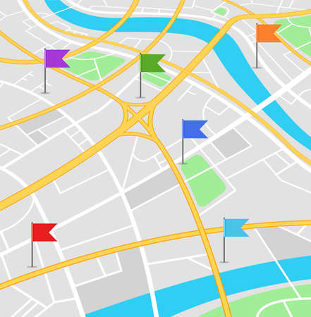 Street map with colored flags. GPS navigator with pinpoint. Location marks on a city landscape. Vector illustration.