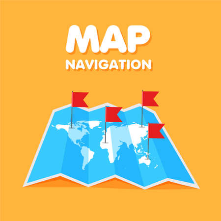 Cartoon world travel map colored flags on it. Location and pinpoints on a global map. Vector illustration.
