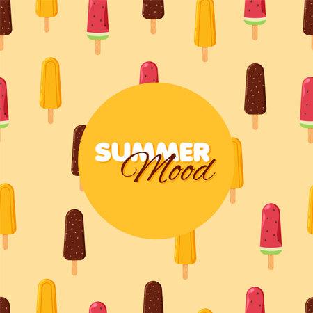 Cartoon ice-cream cone seamless pattern. Chocolate, orange and watermelon ice cream frozen juice. Summer banner. Vector illustration.