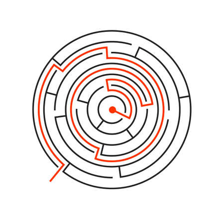 Solved circle maze. Labyrinth template. Red path. Vector illustration isolated on white background.