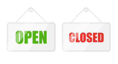 Open and closed signs for door isolated on white background. Vector lettering.
