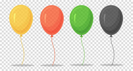 Set of cartoon vector colorful balloons isolated on transparent background. Yellow, red, green and black balloon for birthday, holiday events, parties, weddings. Vector illustration.