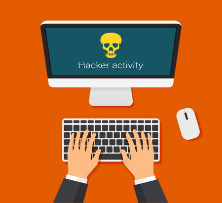 Monitor and virus warning on it. Hacking mail or computer. Hand are typing on keyboard. Skull icon on a display. Getting a pirated or infected letter. Top view.