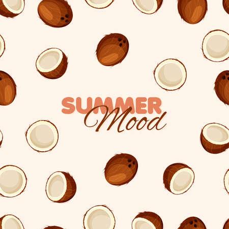 Coconut seamless pattern. Summer banner concept. Beige background. Vector illustration.