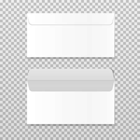 Open and closed empty envelope mock up. Realistic blank letter template. Paper C4 white envelopes front view. Vector illustration isolated on transparent background.
