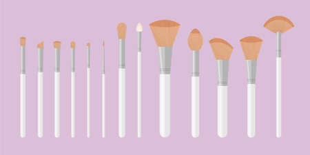 Set of white pure professional brushes for makeup. Make up artist kit. Angle, fan and flat glamor brush. Vector illustration isolated on pink background.