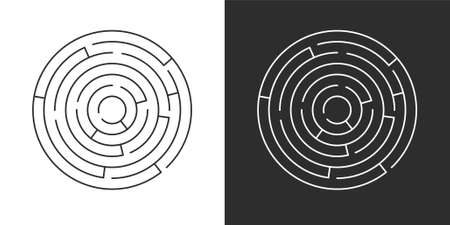 Circle maze set. Labyrinth template on white and black background. Vector illustration isolated Illustration