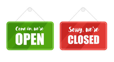 Open and closed signs for door isolated on white background. Vector lettering Illustration