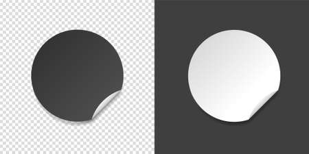 White and black round folded edge sticker. Empty paper price tag templates with peeling corner. Blank layout for any notes. Vector illustartion isolated on transparent and black backgrounds. Illustration