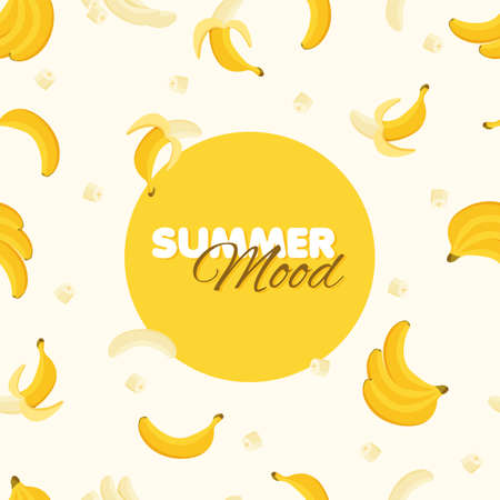 Banana seamless pattern. Summer banner concept. Yellow background. Vector illustration