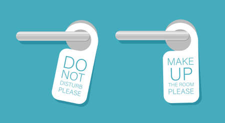 Door knob warning hangers set. Do not disturb and make up the room. Plaques hang on the door handles. Vector illustration isolated. Illustration