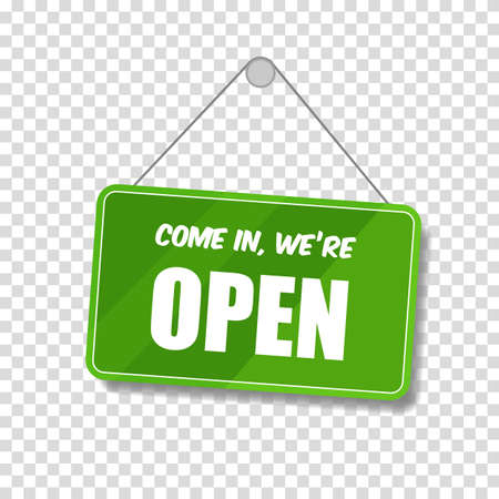 Open sign for door isolated on transparent background. Welcome. Vector lettering