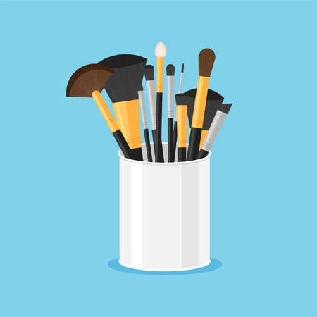 Set of black pure professional brushes for makeup in a glass. Make up artist kit. Angle, fan and flat brush. Vector illustration isolated on blue background.