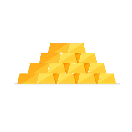 Stack of isometric shiny gold bars or ingots isolated on white background. Business concept. Icon for web, games, apps. Vector illustration.