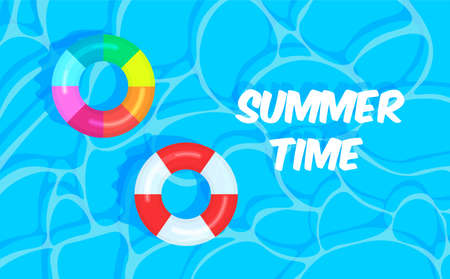 Swimming pool summer background with colorful lifebuoys. Summer time concept. Pool party template banner. Float rings. Vector illustration in trendy flat style. Illustration