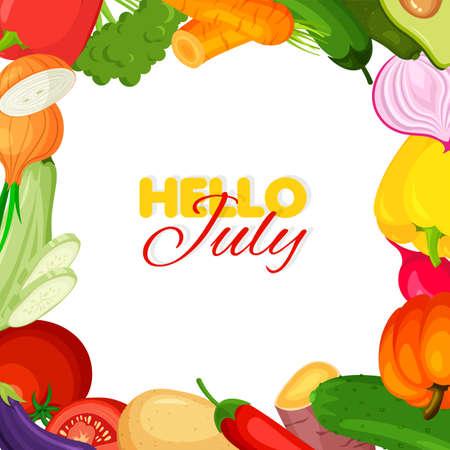 Vegetable frame. Summer banner template. Hello july concept. Vector illustration. Illustration