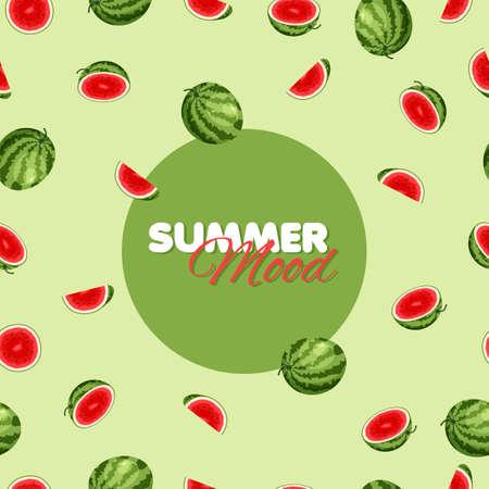 Cartoon watermelon seamless pattern. Summer banner concept. Green background. Vector illustration.