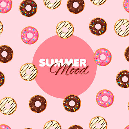 Cartoon donut seamless pattern. Chocolate, vanilla and strawberry donut. Summer banner. Vector illustration