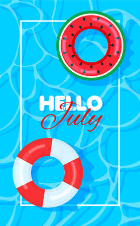 Swimming pool summer background with colorful lifebuoys. Hello july concept. Pool party template banner. Float rings. Vector illustration in trendy flat style.