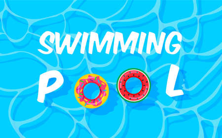 Pool party template banner. Swimming pool summer background with colorful lifebuoys. Float rings. Vector illustration in trendy style. Top view. Illustration