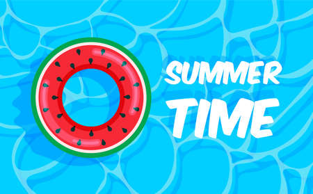 Swimming pool summer background with watermelon lifebuoy. Summer time concept. Pool party template banner. Float rings. Vector illustration in trendy flat style. Top view.