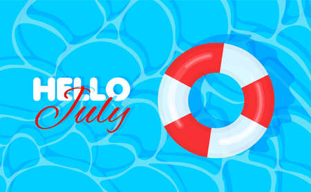 Swimming pool summer background with red and white lifebuoy. Hello july concept. Pool party template banner. Float rings. Vector illustration in trendy flat style.