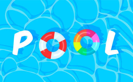 Swimming pool background with colorful lifebuoys. Summer pool party template banner. Float rings. Vector illustration in trendy style. Top view.