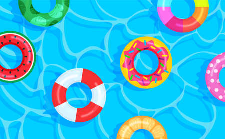 Swimming pool background with different color lifebuoys. Summer time banner. Vector illustration in trendy flat style. Top view.
