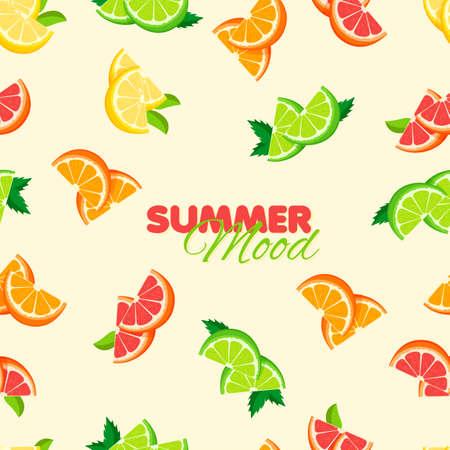 Cartoon orange, lemon, lime seamless pattern. Summer banner concept. Yellow background. Vector illustration.