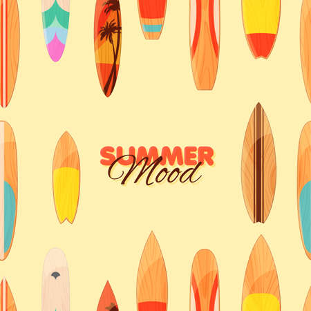 Surfboard seamless pattern. Summer banner template with colorful surfboards isolated on yellow background. Vector illustration. Illustration
